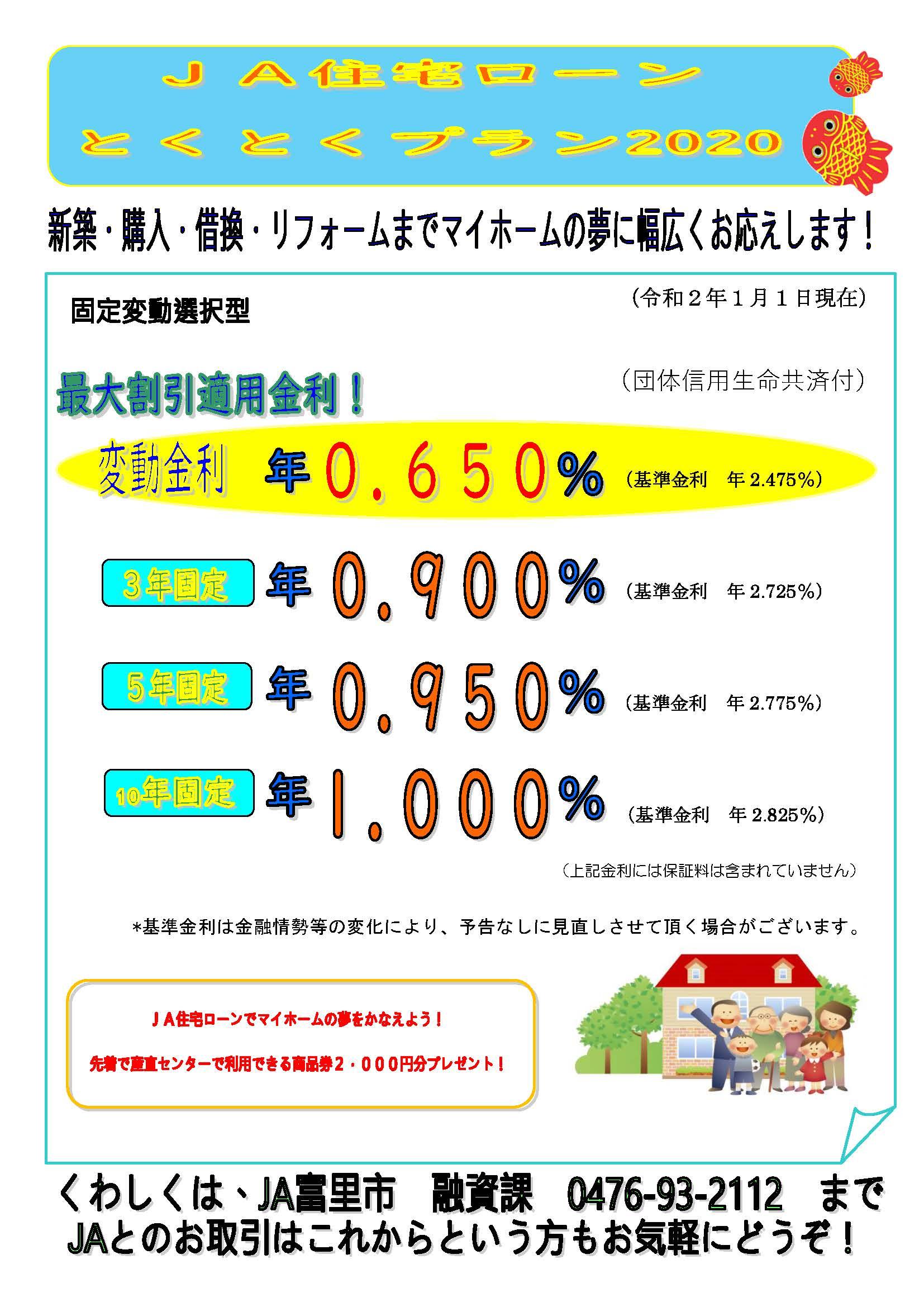 JA住宅ローンとくとくプラン2020
